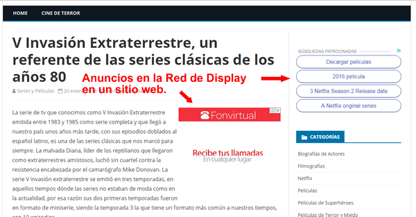 ejemplo adwords red de display